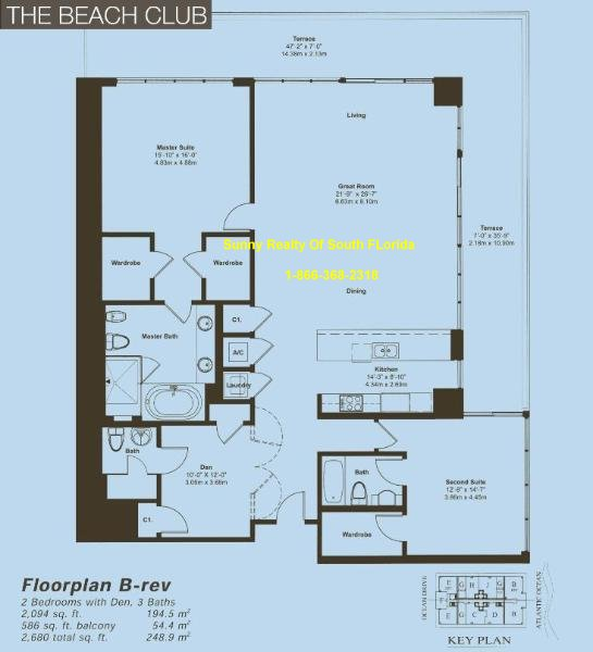 Beach Club II Floor Plan Unit B Reversed