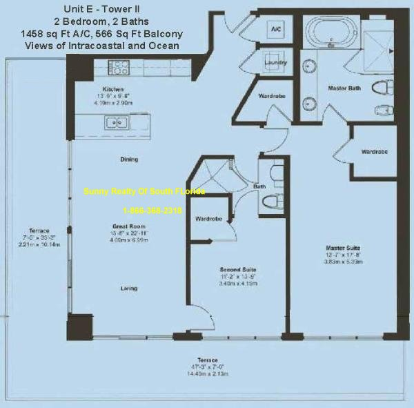 Beach Club II Floor Plan Unit E