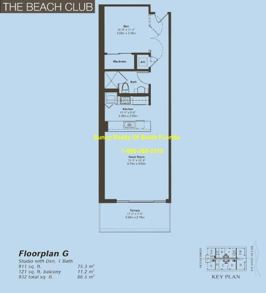 Beach Club II Floor Plan Unit G