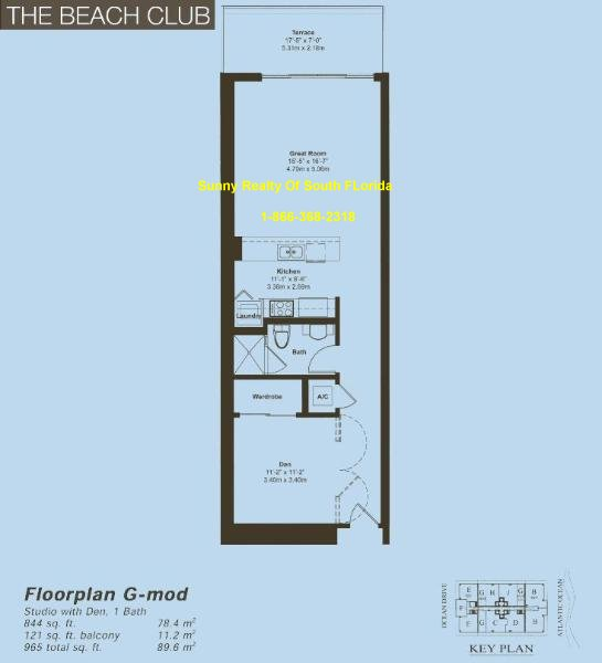 Beach Club II Floor Plan Unit G Mod