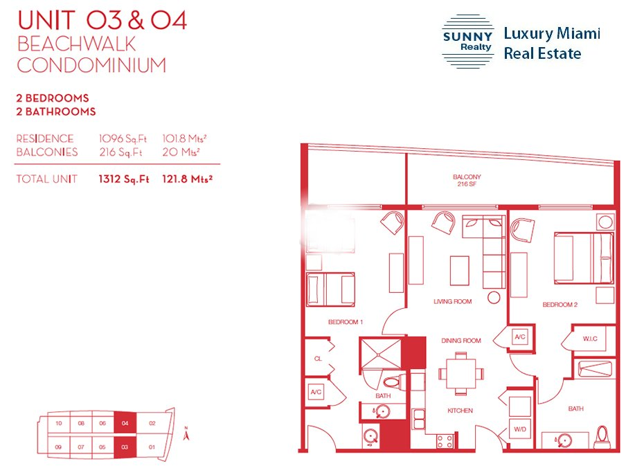 Beachwalk Floor Plan Unit 03 and 04
