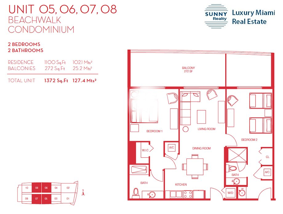 Beachwalk Floor Plan Unit 05, 06, 07, 08