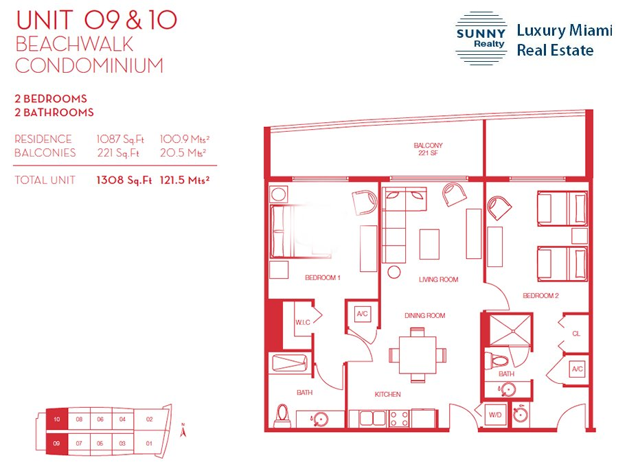 Beachwalk Floor Plan Unit 09 and 10