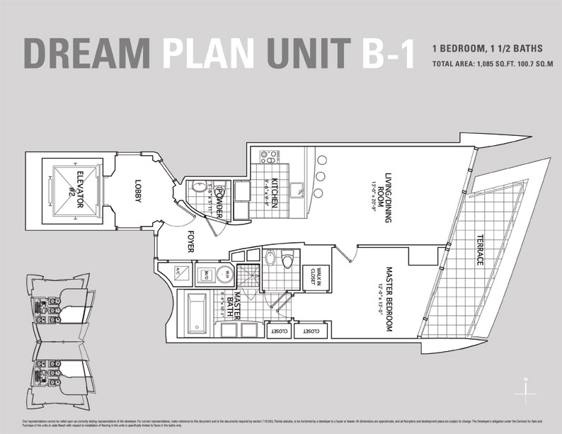Jade Beach Floor Plan for Unit B1