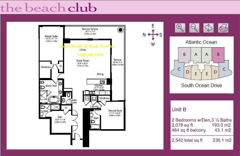 Beach Club Floor Plan Unit B